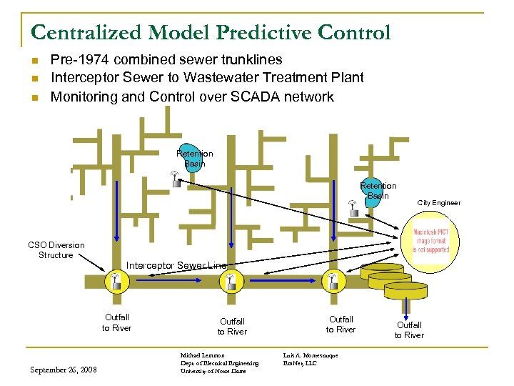 Centralized Model Predictive Control n n n Pre-1974 combined sewer trunklines Interceptor Sewer to