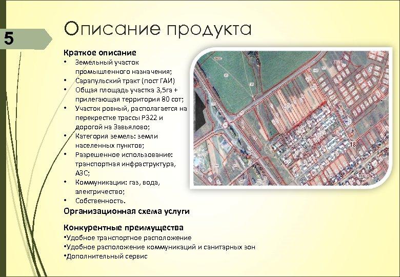 5 Описание продукта Краткое описание • • Земельный участок промышленного назначения; Сарапульский тракт (пост