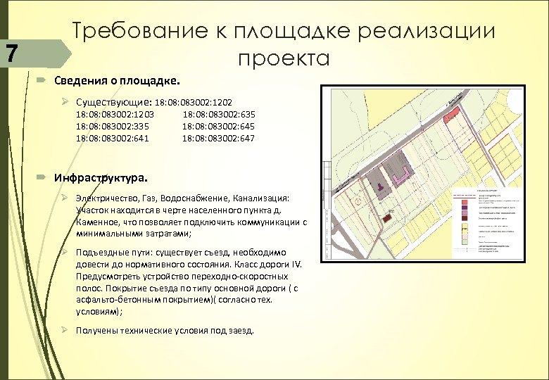 7 Требование к площадке реализации проекта Сведения о площадке. Ø Существующие: 18: 083002: 1202
