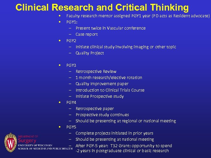 Clinical Research and Critical Thinking • • • Faculty research mentor assigned PGY 1