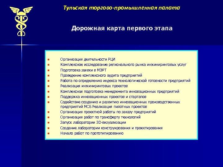 Тульская торгово-промышленная палата Дорожная карта первого этапа n n n n Организация деятельности РЦИ