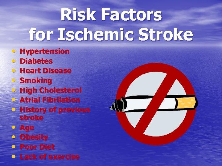 Risk Factors for Ischemic Stroke • • • Hypertension Diabetes Heart Disease Smoking High