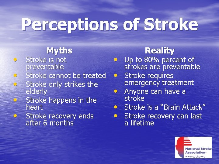 Perceptions of Stroke Myths Reality • Stroke is not • Up to 80% percent