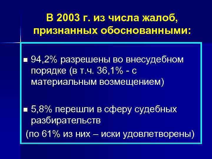 В 2003 г. из числа жалоб, признанных обоснованными: n 94, 2% разрешены во внесудебном