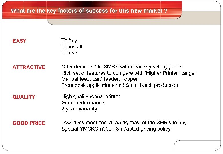 What are the key factors of success for this new market ? 3 EASY