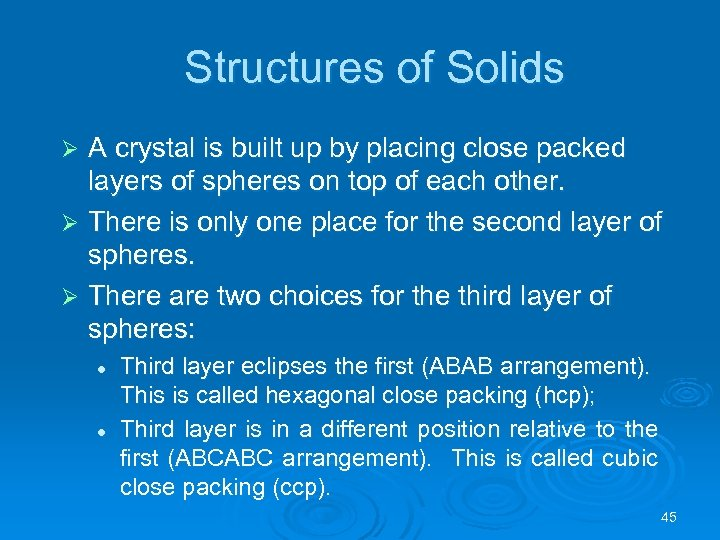 Structures of Solids A crystal is built up by placing close packed layers of