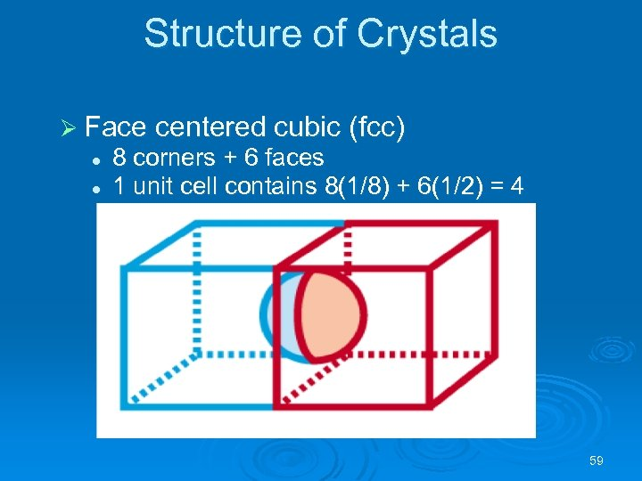 Structure of Crystals Ø Face centered cubic (fcc) l l 8 corners + 6