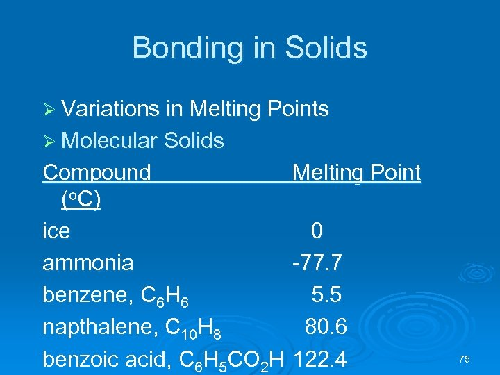 Bonding in Solids Ø Variations in Melting Points Ø Molecular Solids Compound (o C