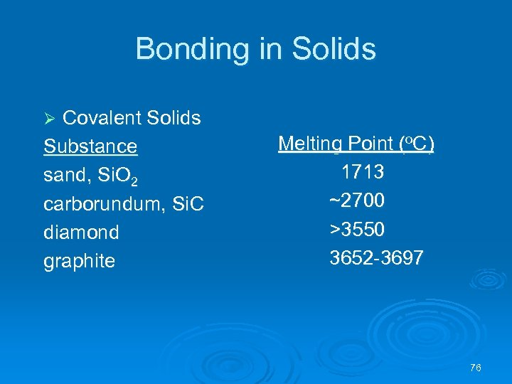 Bonding in Solids Covalent Solids Substance sand, Si. O 2 carborundum, Si. C diamond