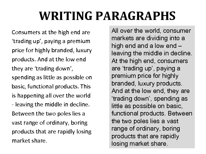 WRITING PARAGRAPHS Consumers at the high end are 'trading up', paying a premium price