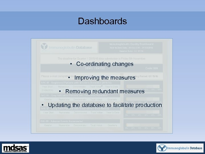 Dashboards • Co-ordinating changes • Improving the measures • Removing redundant measures • Updating