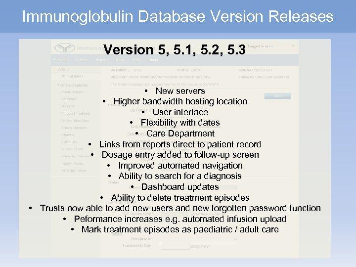 Immunoglobulin Database Version Releases Version 5, 5. 1, 5. 2, 5. 3 • New