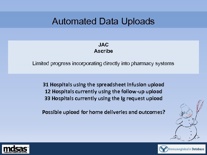 Automated Data Uploads JAC Ascribe Limited progress incorporating directly into pharmacy systems 31 Hospitals