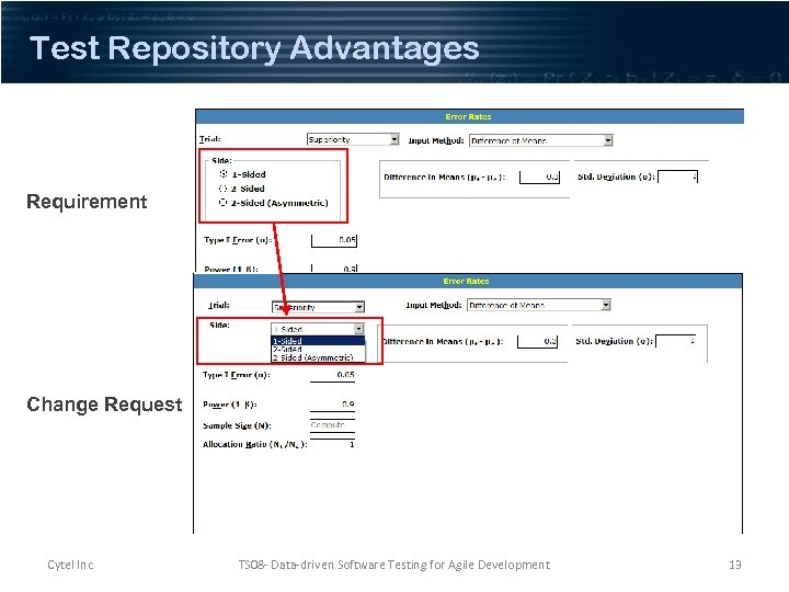 Test Repository Advantages Requirement Change Request Cytel Inc TS 08 - Data-driven Software Testing
