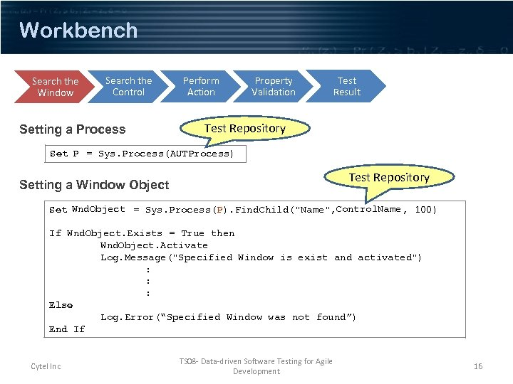 Workbench Search the Window Search the Control Setting a Process Perform Action Property Validation