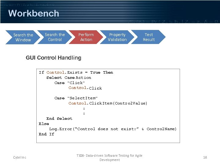 Workbench Search the Window Search the Control Perform Action Property Validation Test Result GUI