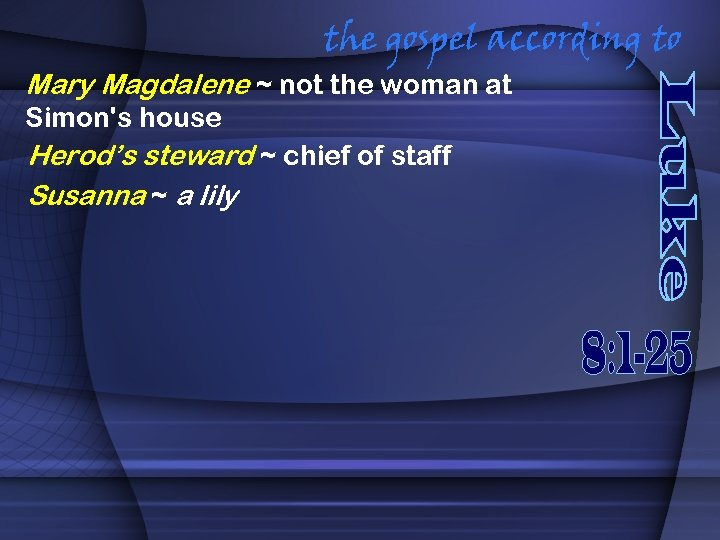 the gospel according to Mary Magdalene ~ not the woman at Simon's house Herod's
