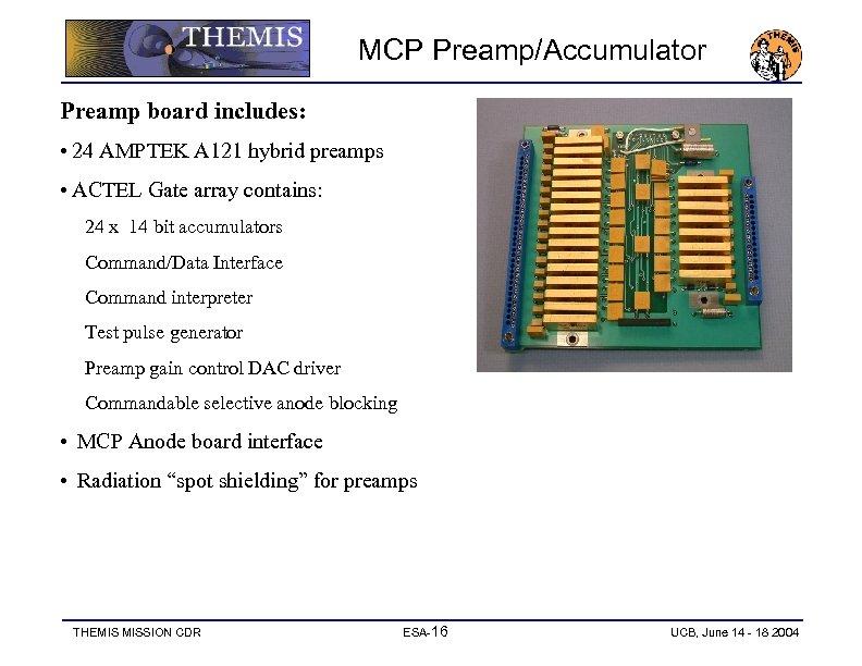 MCP Preamp/Accumulator Preamp board includes: • 24 AMPTEK A 121 hybrid preamps • ACTEL