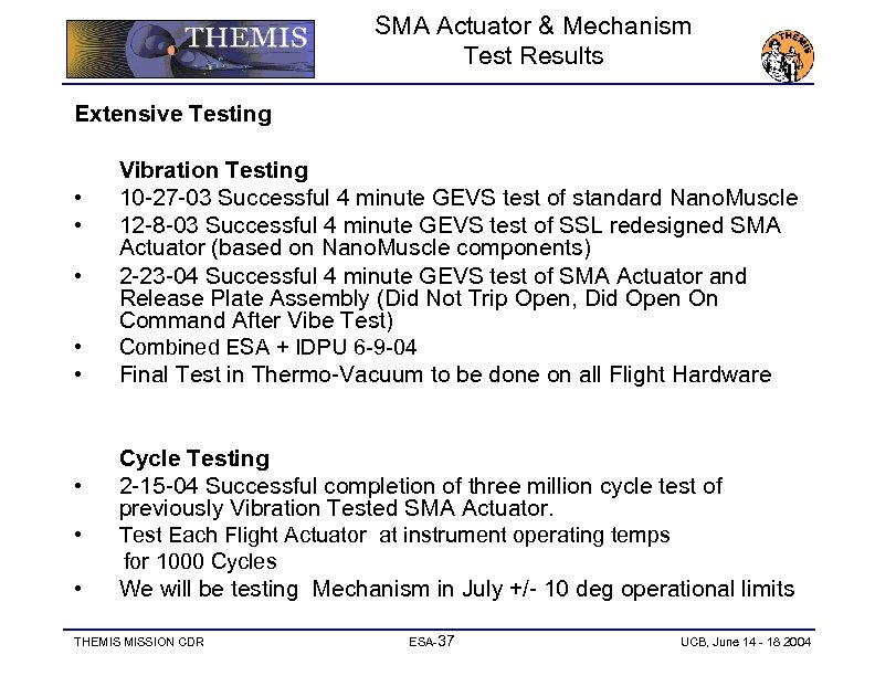 SMA Actuator & Mechanism Test Results Extensive Testing • • Vibration Testing 10 -27