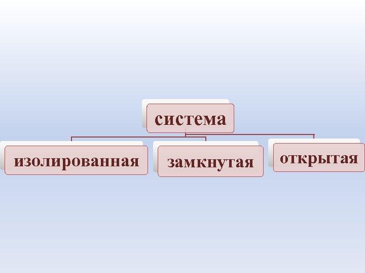 система изолированная замкнутая открытая