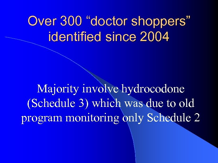 "Over 300 ""doctor shoppers"" identified since 2004 Majority involve hydrocodone (Schedule 3) which was"