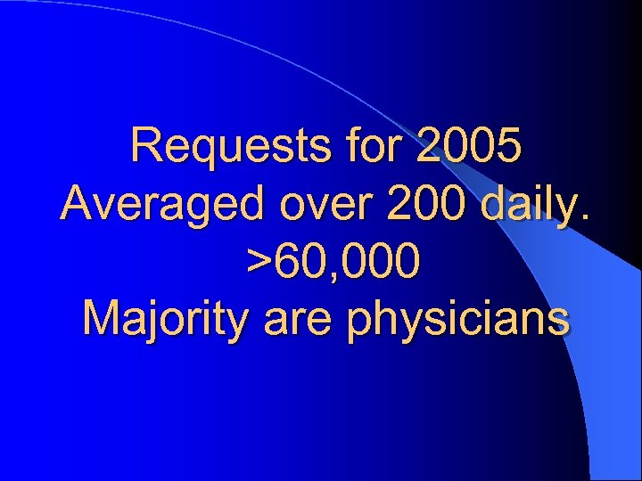 Requests for 2005 Averaged over 200 daily. >60, 000 Majority are physicians