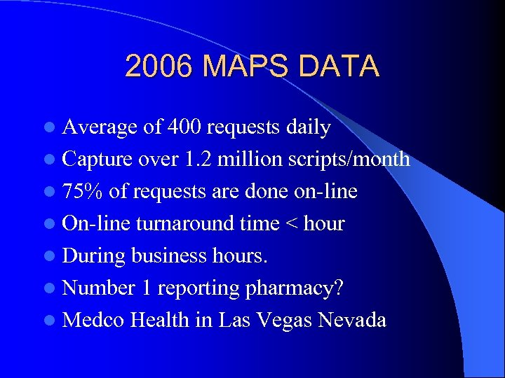 2006 MAPS DATA l Average of 400 requests daily l Capture over 1. 2