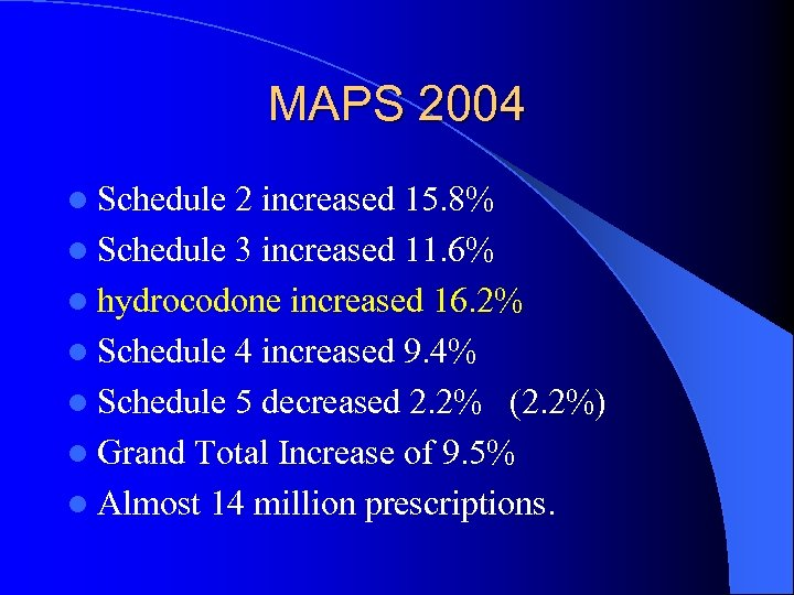 MAPS 2004 l Schedule 2 increased 15. 8% l Schedule 3 increased 11. 6%