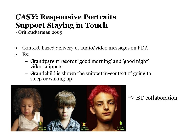 CASY: Responsive Portraits Support Staying in Touch - Orit Zuckerman 2005 • Context-based delivery