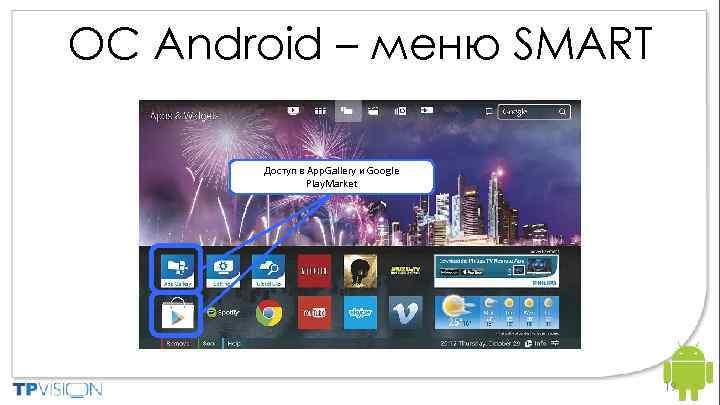 ОС Android – меню SMART Доступ в App. Gallery и Google Play. Market 19