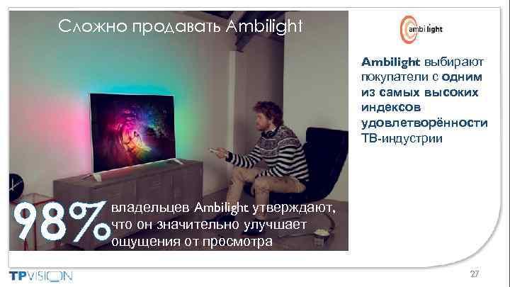 Сложно продавать Ambilight выбирают покупатели с одним из самых высоких индексов удовлетворённости ТВ-индустрии 98%