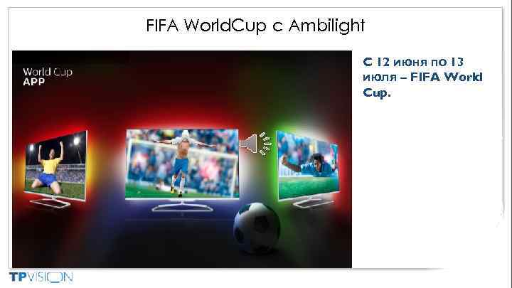 FIFA World. Cup с Ambilight C 12 июня по 13 июля – FIFA World