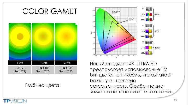 COLOR GAMUT 8 -bit 10 -bit 12 -bit HDTV (Rec. 709) ULTRA HD (Rec.