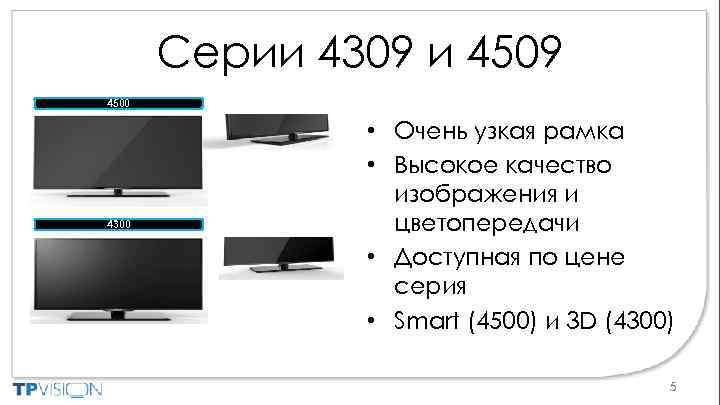 Cерии 4309 и 4509 4500 4300 • Очень узкая рамка • Высокое качество изображения