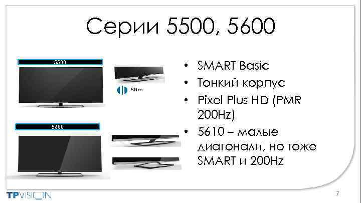 Серии 5500, 5600 5500 5600 • SMART Basic • Тонкий корпус • Pixel Plus