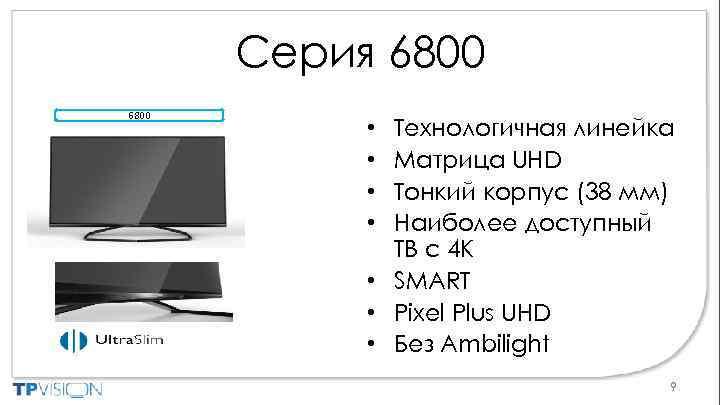 Серия 6800 Технологичная линейка Матрица UHD Тонкий корпус (38 мм) Наиболее доступный ТВ с