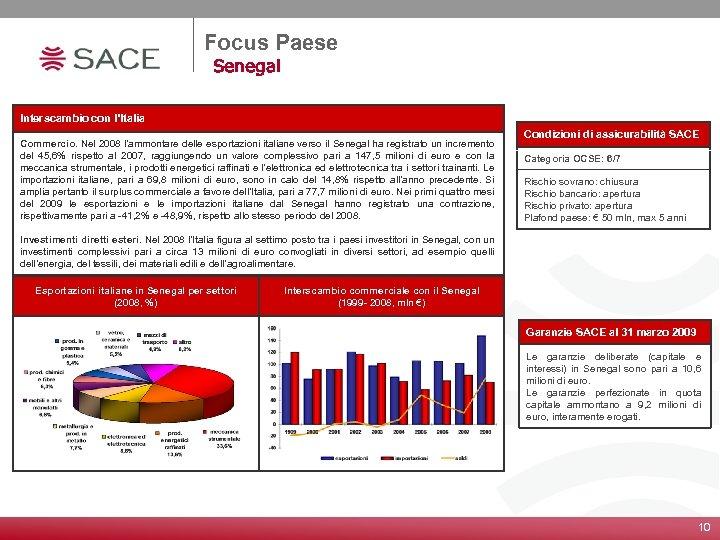 Focus Paese Senegal Interscambio con l'Italia Commercio. Nel 2008 l'ammontare delle esportazioni italiane verso