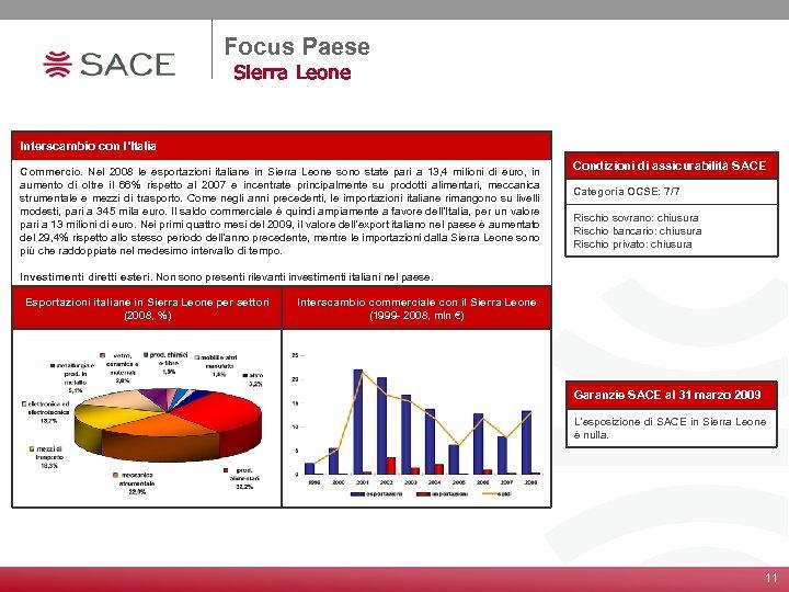 Focus Paese Sierra Leone Interscambio con l'Italia Commercio. Nel 2008 le esportazioni italiane in