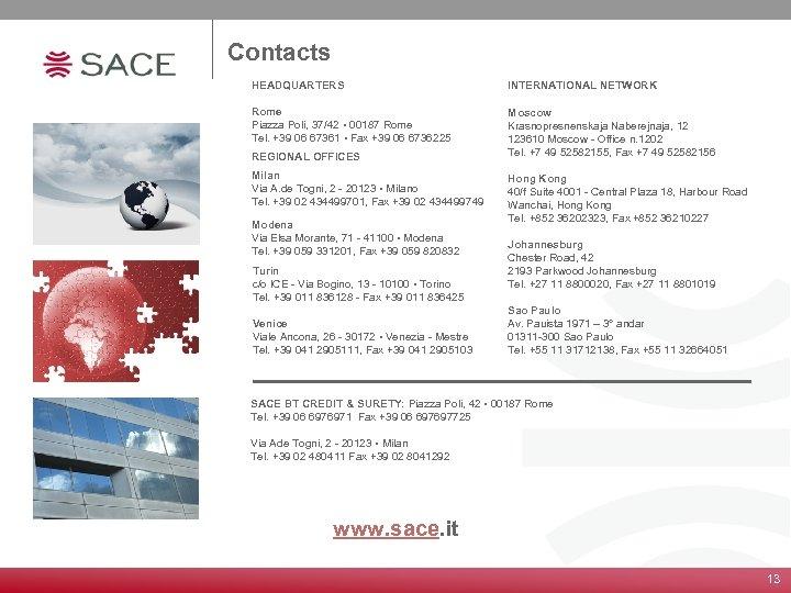 Contacts HEADQUARTERS INTERNATIONAL NETWORK Rome Piazza Poli, 37/42 • 00187 Rome Tel. +39 06