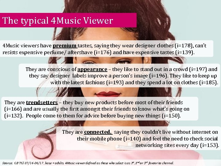 The typical 4 Music Viewer 4 Music viewers have premium tastes, saying they wear