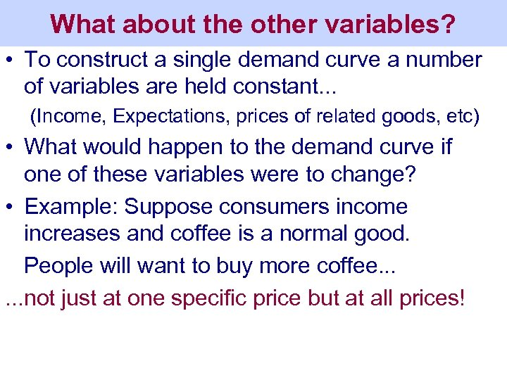 What about the other variables? • To construct a single demand curve a number