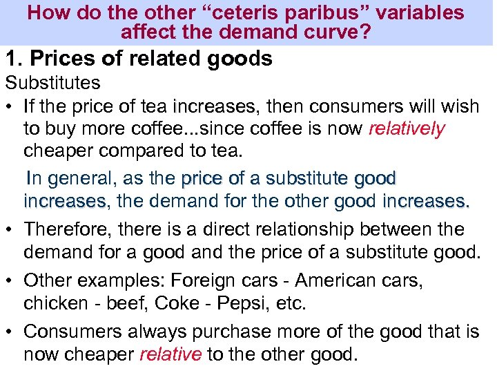 """How do the other """"ceteris paribus"""" variables affect the demand curve? 1. Prices of"""