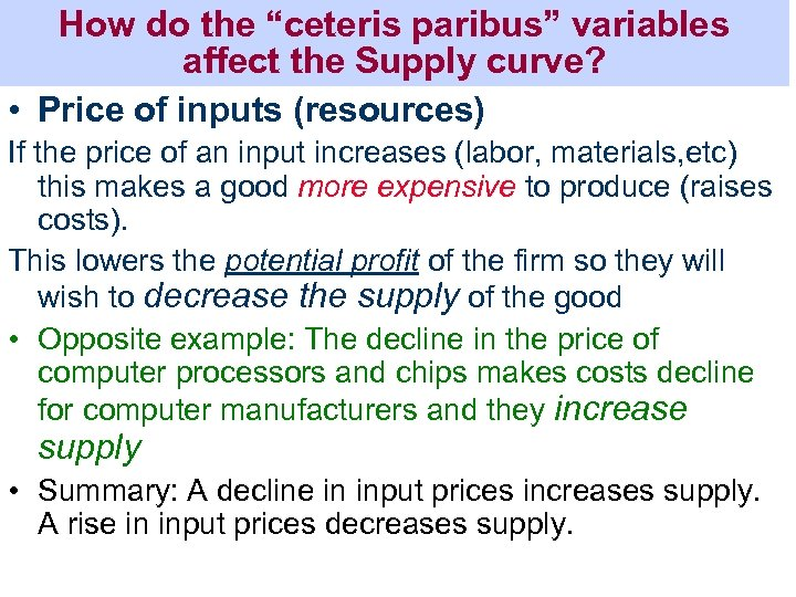 """How do the """"ceteris paribus"""" variables affect the Supply curve? • Price of inputs"""