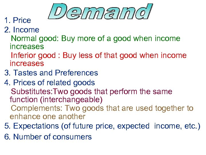 1. Price 2. Income Normal good: Buy more of a good when income increases
