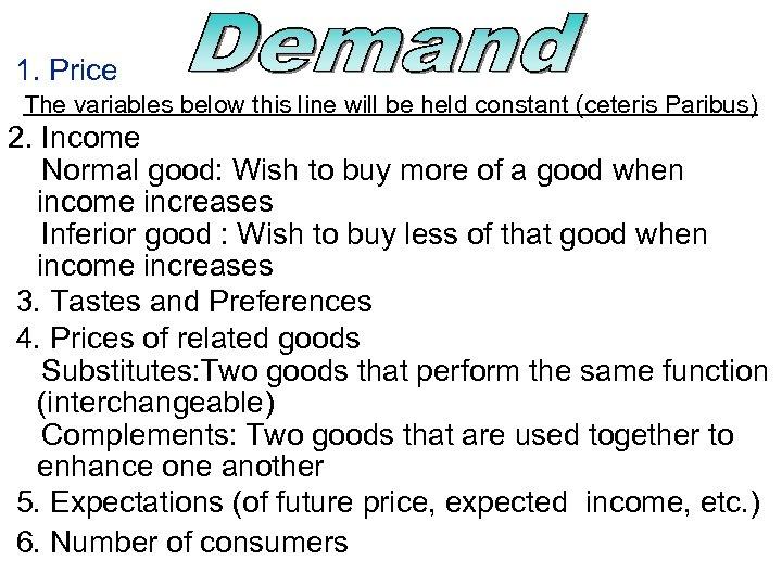 1. Price The variables below this line will be held constant (ceteris Paribus) 2.
