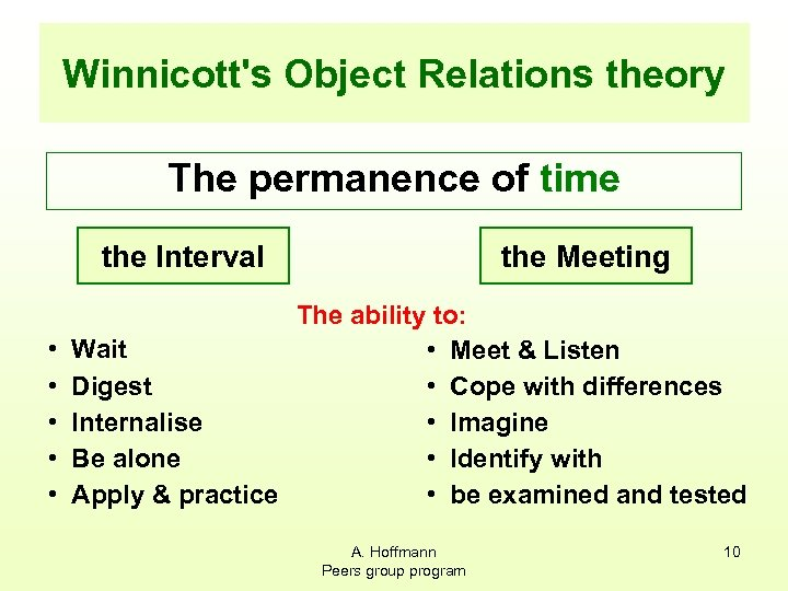Winnicott's Object Relations theory The permanence of time the Interval • • • the