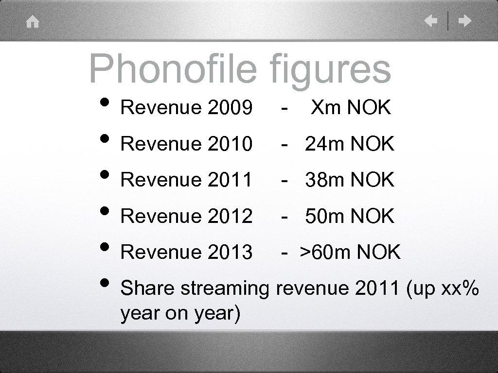 Phonofile figures • Revenue 2009 - Xm NOK • Revenue 2010 - 24 m