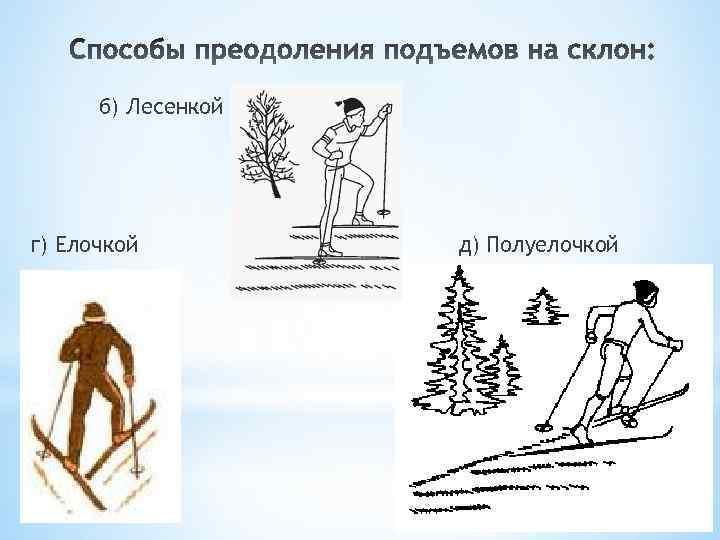б) Лесенкой г) Елочкой д) Полуелочкой