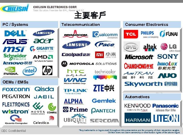 主要客戶 PC / Systems Telecommunication Consumer Electronics OEMs / EMSs Automotives *Any trademarks or