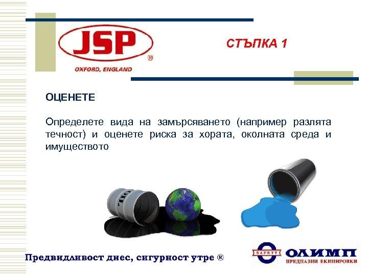 СТЪПКА 1 ОЦЕНЕТЕ Определете вида на замърсяването (например разлята течност) и оценете риска за